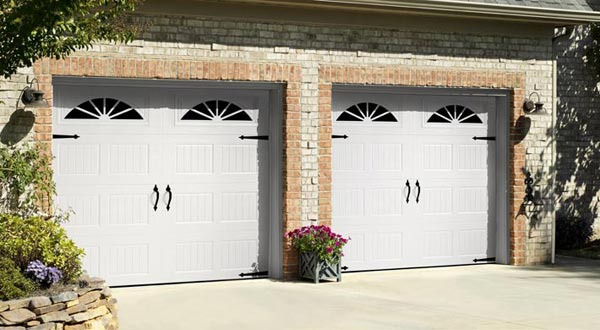 Two Garage Doors with Styled Window Panels