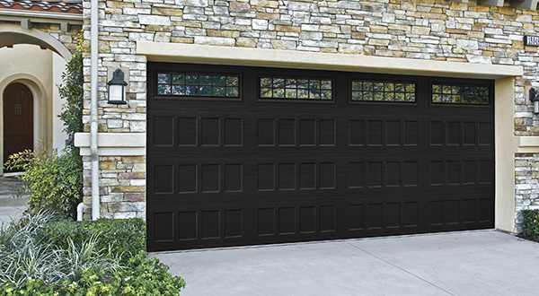 Black Garage Door with Window Panels