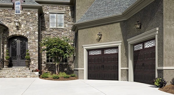 Double Wooden Style Garage Doors Full View