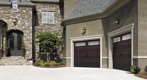 Double Wooden Style Garage Doors Full View