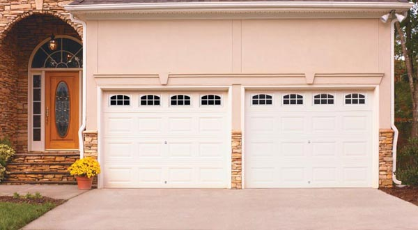 Home with Double Garage Door with Window Panels