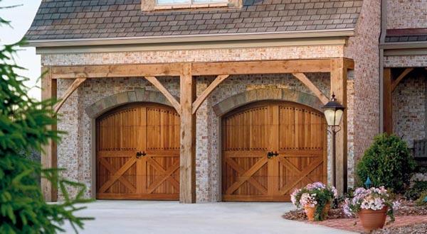 Two Wooden Style Garage Doors