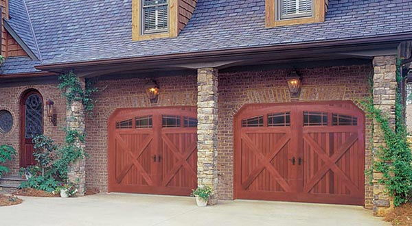 Wooden Style Double Garage Doors