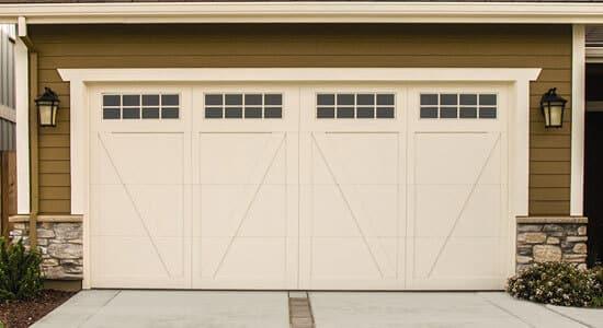 Wayne Dalton tan carriage-style garage door