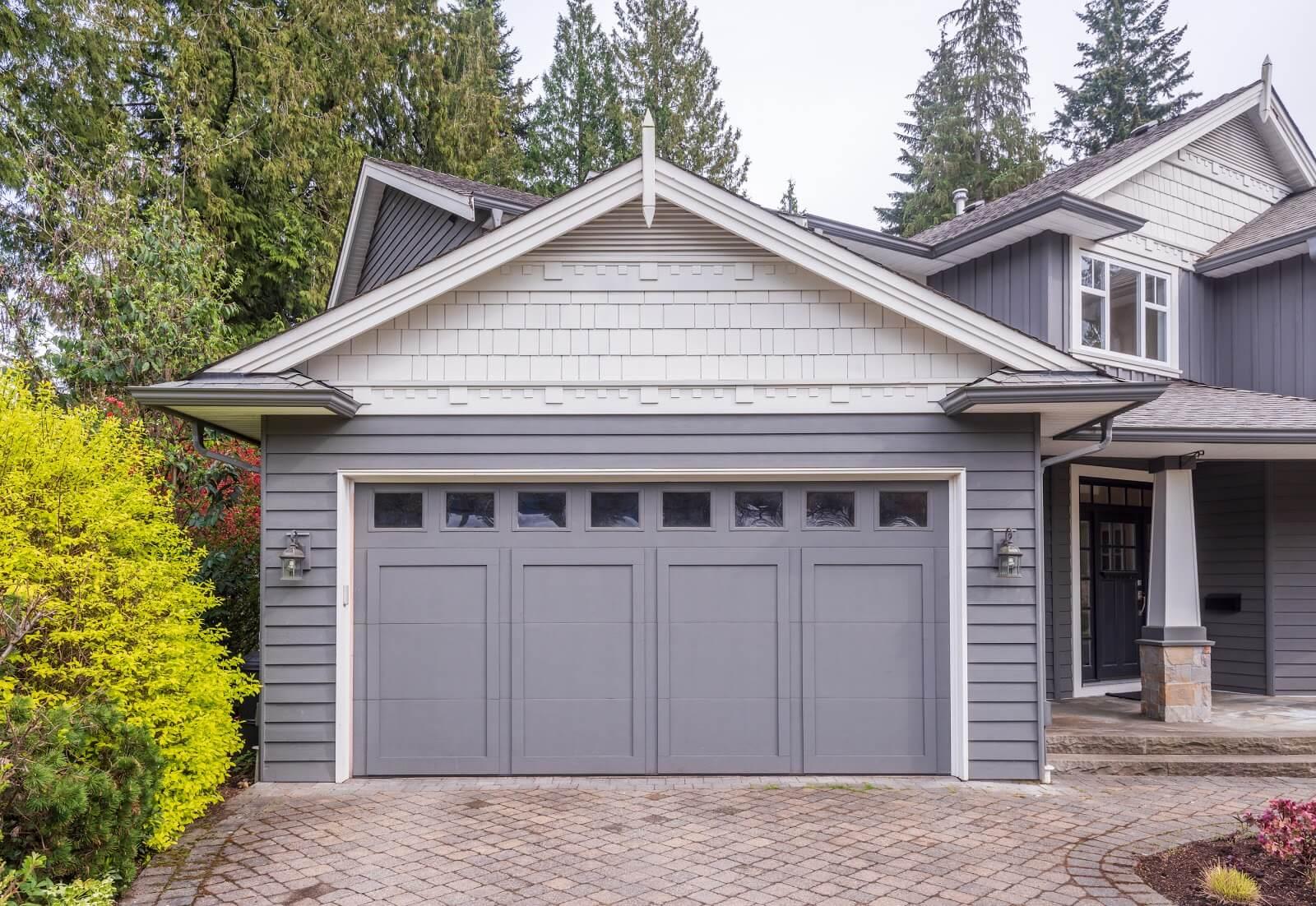 Garage-door-in-luxury-house-springtime